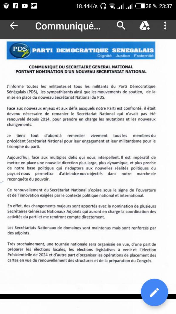 Pds: Wade dissout le Sen, Oumar Sarr & Cie virés