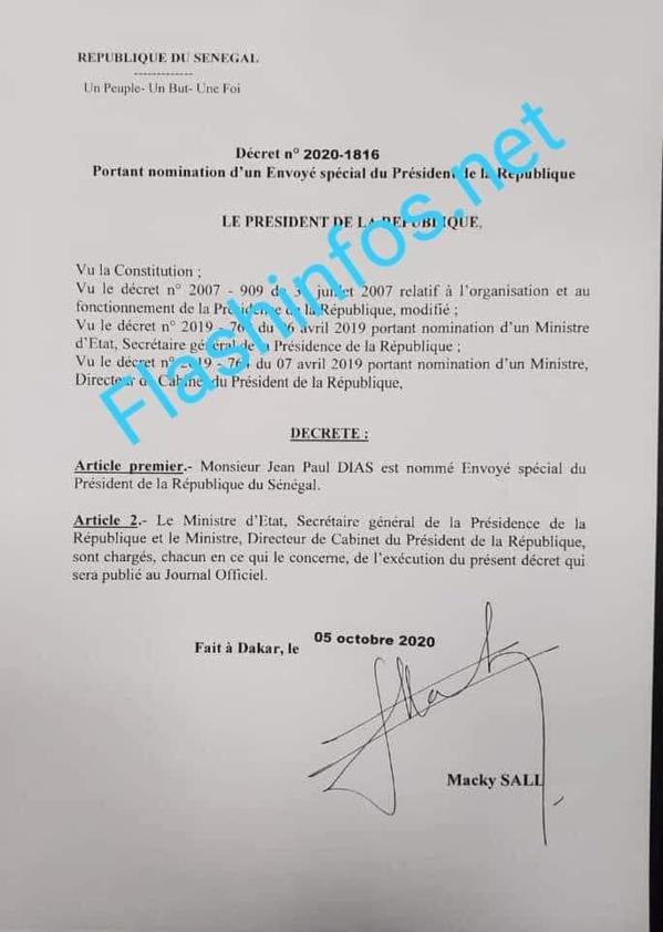 Jean Paul DIAS nommé envoyé special du Président Macky Sall
