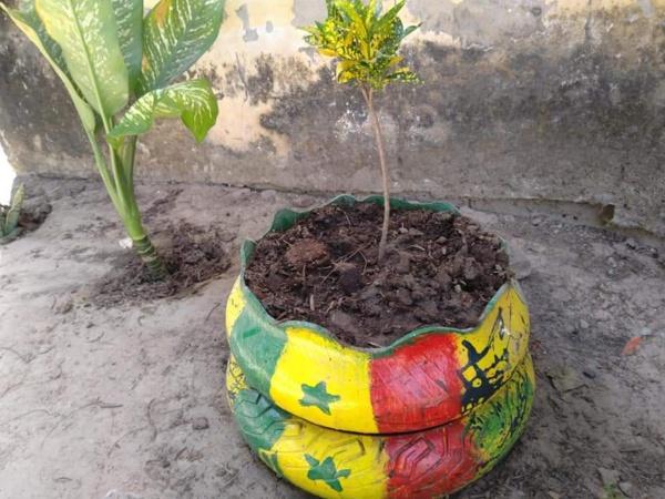 Ziguinchor : Le jeune Chérif Diémé s'active dans le recyclage de pneu (Photos)