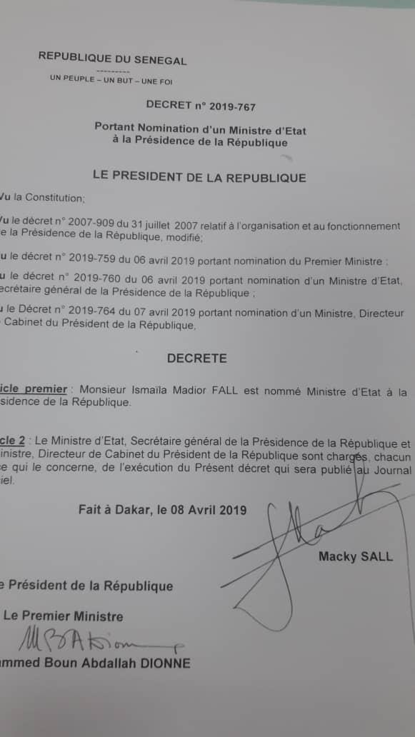 Ismaila Madior Fall nommé Ministre d'Etat auprès du président Macky Sall