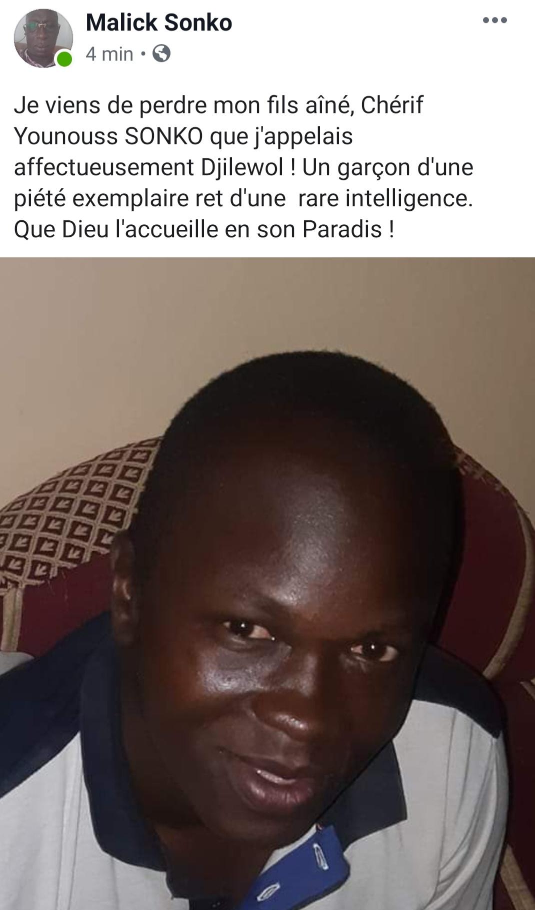 Ziguinchor : Malick Sonko perd son fils aîné