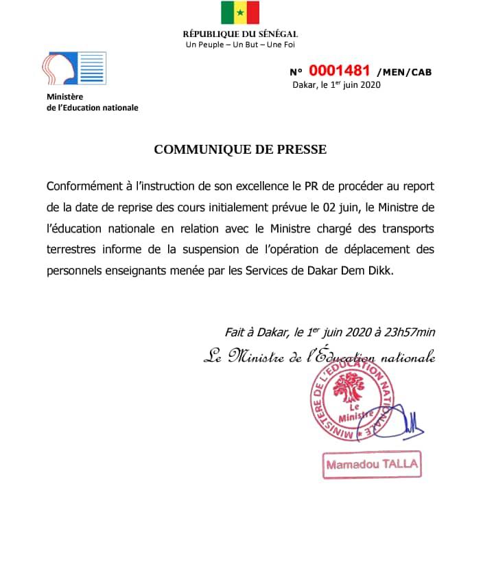 Le transport des enseignants par Dakar Dem Dikk suspendu
